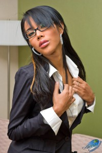 ladyboy girl in office uniform